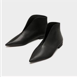 Zara genuine leather booties size 6.5